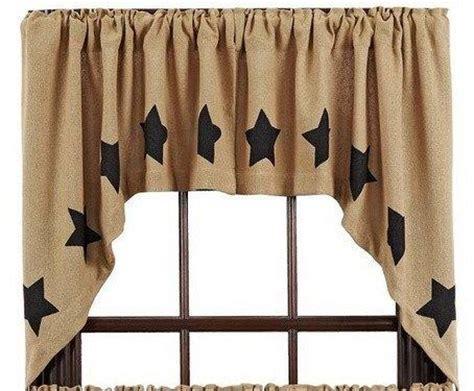burlap swag curtains burlap natural stencil star curtains at primitive star