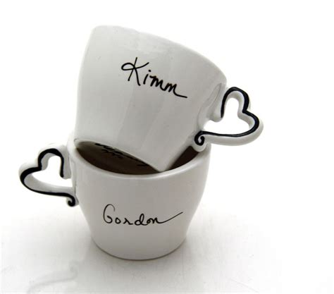 personalized espresso cup set of two with hearts by lennymud