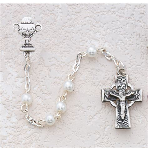celtic cross with rosary pearl bead celtic cross communion rosary c21lw