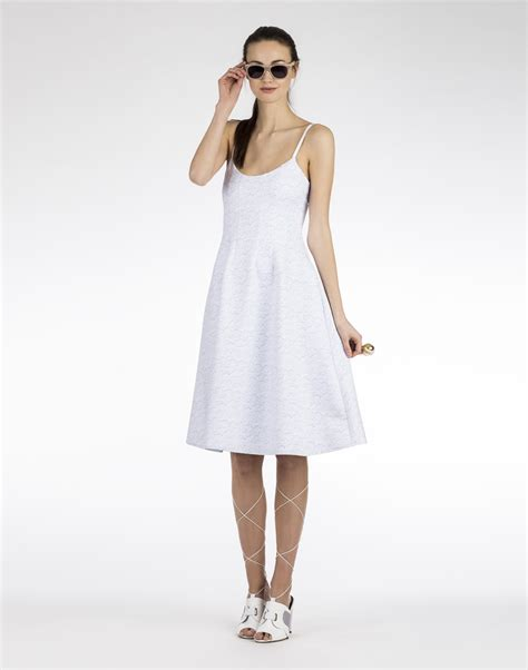Dress Cyntia cynthia rowley bonded seamed detailed dress in white lyst