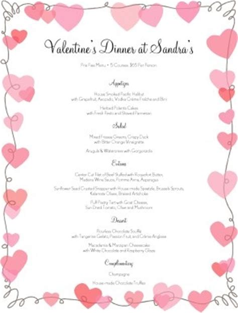 valentines menu template customize v day hearts menu hearts fancy design