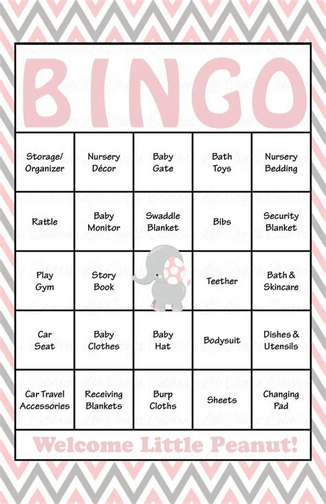 free baby shower bingo template elephant baby bingo cards printable prefilled