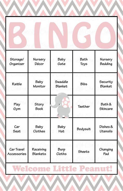Bingo Baby Shower Cards by Elephant Baby Bingo Cards Printable Prefilled