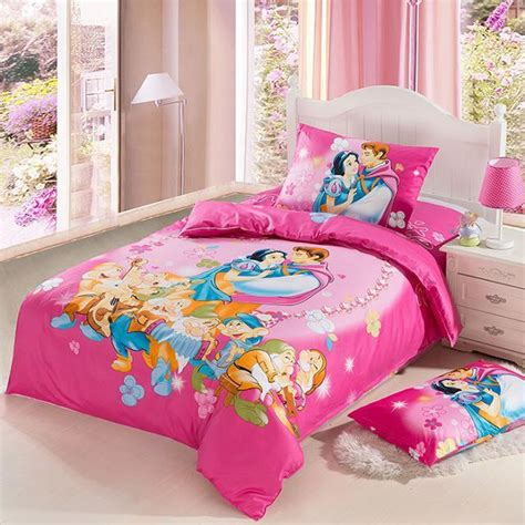 Snow White Pink Kids Girls Cartoon Baby Bedding Set Twin Snow White Bed Set