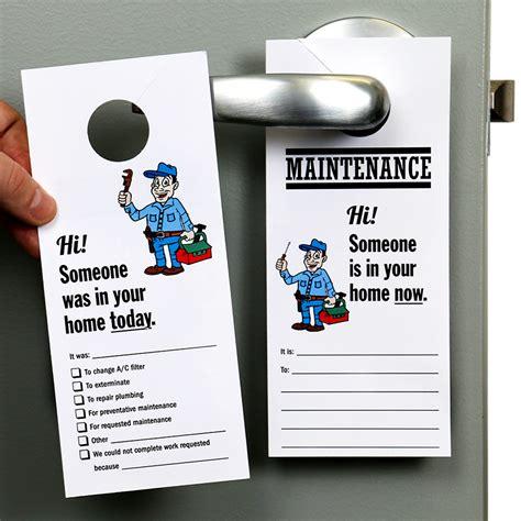 maintenance door hanger template someone in home now door hanger maintenance personnel