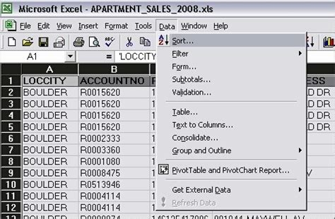 Boulder County Assessor Property Records Sorting Sales Data In Excel Boulder County