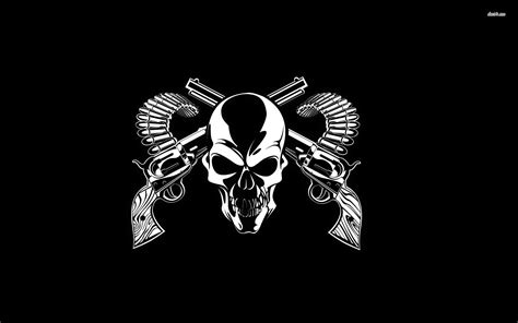 guns and a skull wallpaper