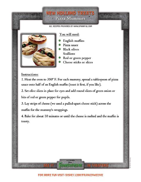 printable disney recipes disney s frankenweenie halloween recipe printables the