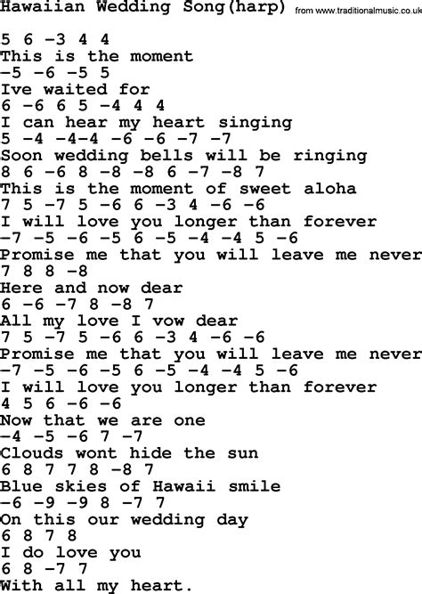 Wedding Song Guitar Chords by Hawaiian Wedding Song Harp By Elvis Lyrics And