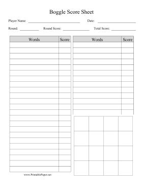printable boggle score sheet