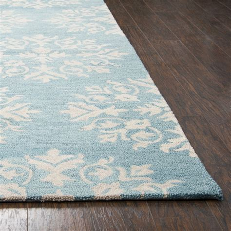 Leons Area Rugs Floral Motif Medallion Wool Area Rug In Aqua Blue Ivory 9 X 12