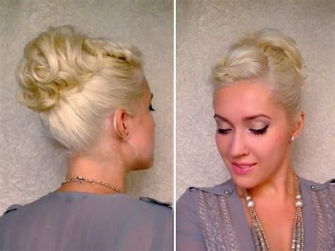 curly updo hairstyle for short hair twisted bangs ponytail