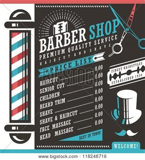 barber shop vector price list vector photo bigstock