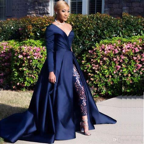 modest blue jumpsuits  pieces prom dresses
