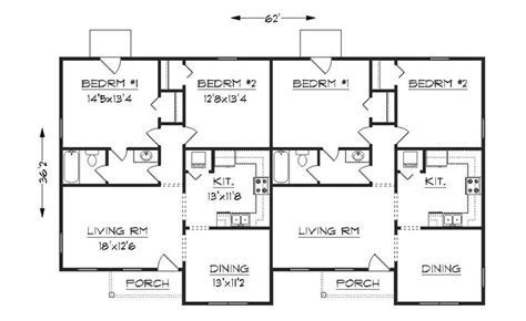 Simple Small House Floor Plans Duplex Plan J 1042d Simple Duplex House Plans