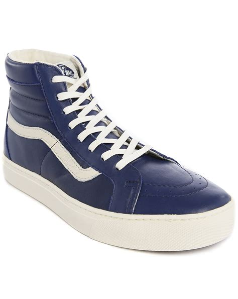 blue leather sneakers vans sk8 hi cup ca blue leather sneakers in blue for