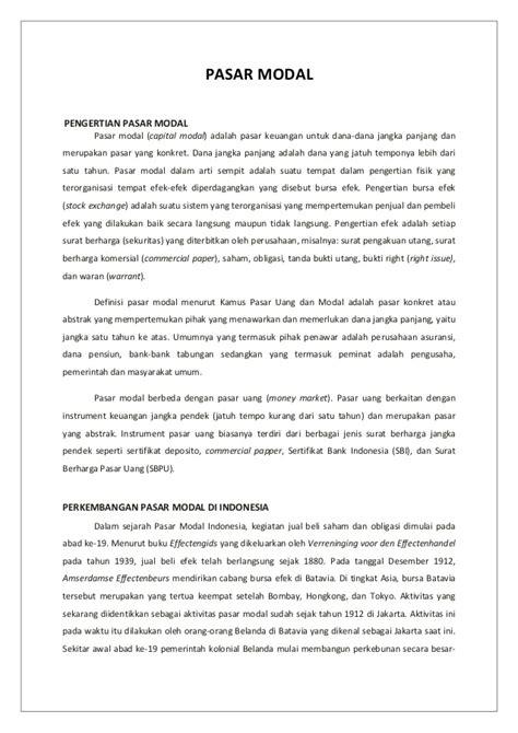 Pengantar Pasar Modal Indonesia perkembangan pasar modal di indonesia