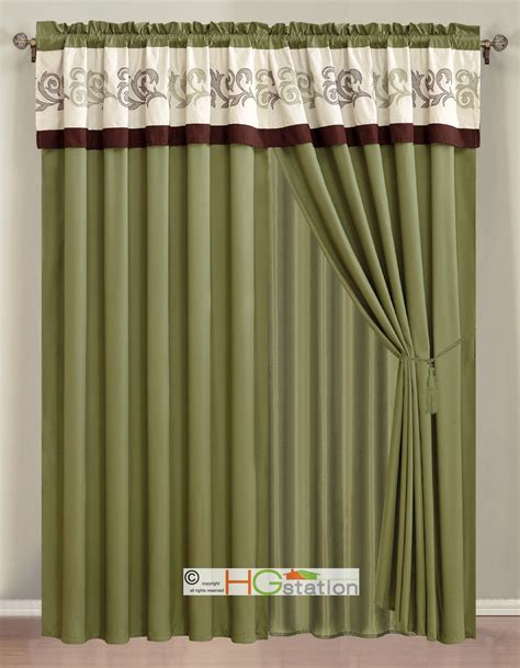 sage curtain 4 pc embroidery scroll floral vine curtain set sage ivory