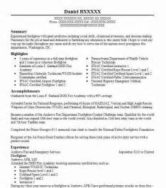 Firefighter Trainee Sle Resume by Best Firefighter Resume Exle Livecareer