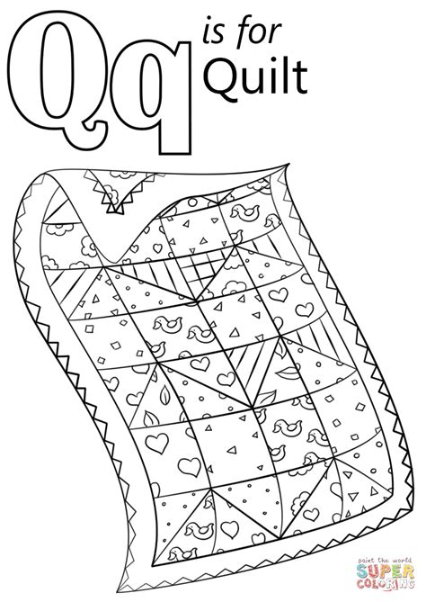 Q For Quilt Coloring Page by Letter Q Is For Quilt Coloring Page From Letter Q Category