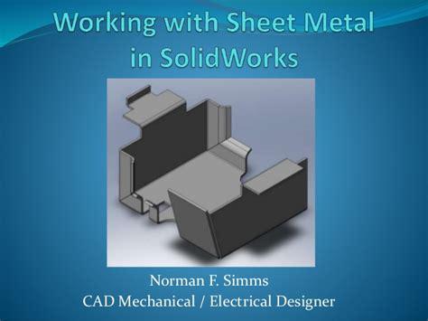 solidwork tutorial ppt solidwork sheet metal show