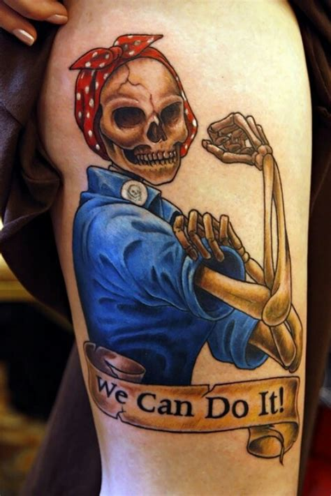 strong woman tattoo rosie the riveter skeleton what i want but as a