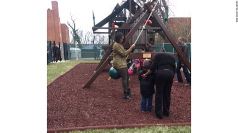swings dc obamas visit swing set they donated to dc shelter