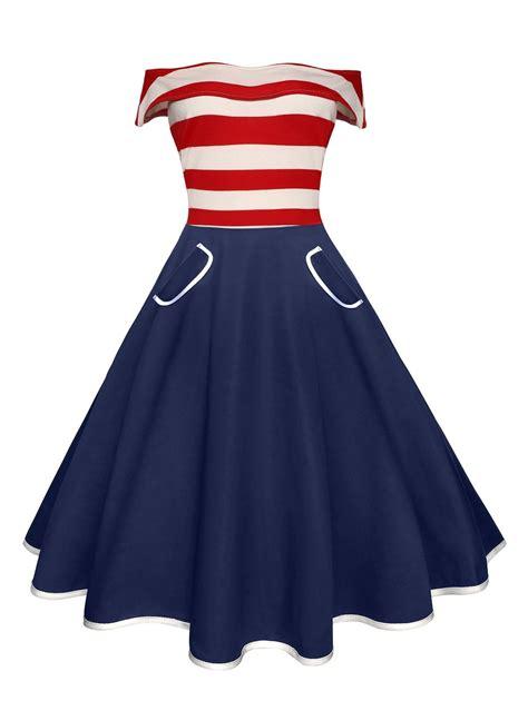 Striped Shoulder A Line Dress s stripe the shoulder a line pocket vintage dress