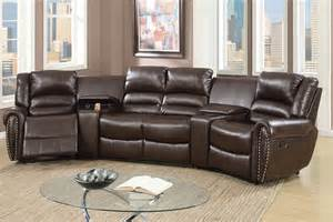 brown bonded leather motion home theater sofa