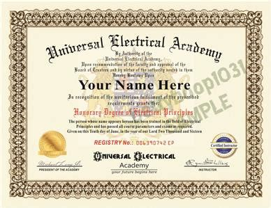 diploma electrical academy prop certificate novelty electrician school usa ebay