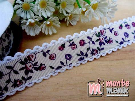 Kain Goni Burlap Ungu pita variasi motif bunga peony ungu 1 inch pita 013 montemanik pusat bahan dan