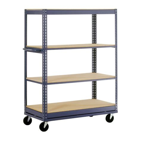 Edsal 66 In H X 48 In W X 24 In D 4 Shelf Mobile Steel Industrial Shelving Units