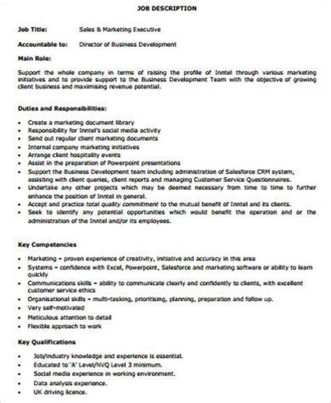 sales marketing executive description sales and marketing description sle 9 exles