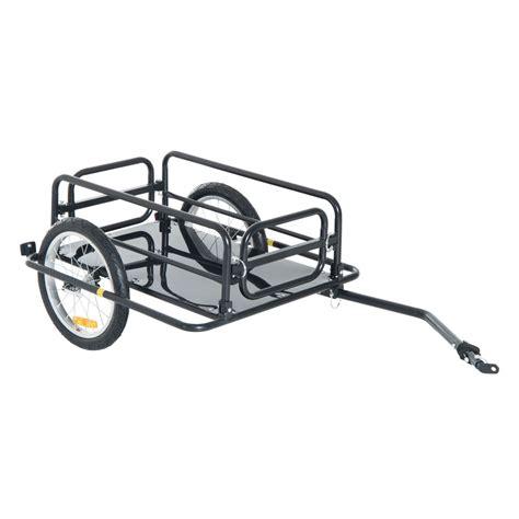 cart for bike aosom wanderer bicycle bike cargo trailer utility luggage cart carrier black ebay