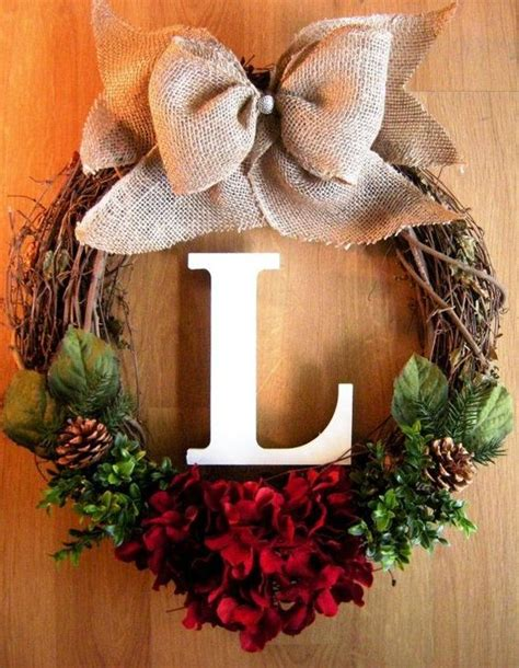 diy wreath ideas diy grapevine wreath with burlap bow and monogram for 2015