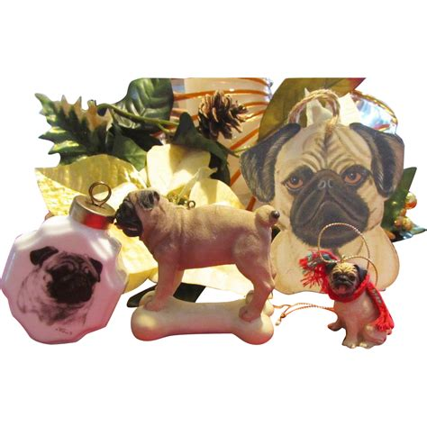 pug ornament two pug ornaments from antiquedog on ruby