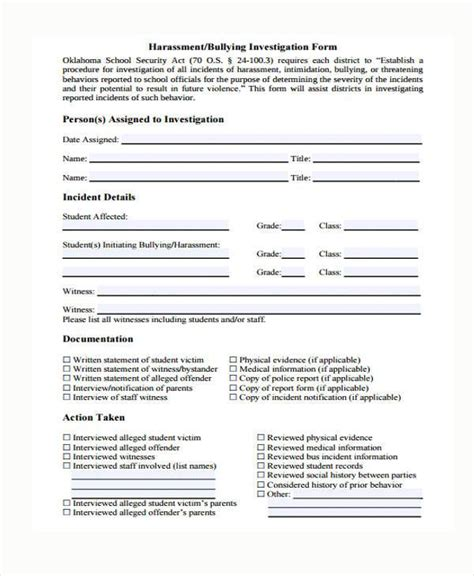 Sle Harassment Complaint Forms 8 Free Documents In Word Pdf Harassment Report Template