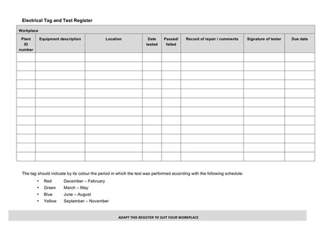 test and tag log book template electrical tag and test register form in word and pdf formats