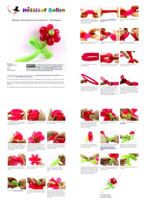 printable directions on how to make balloon animals pdf guide balloon twisting from scratch 14 the flower