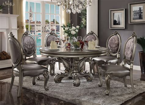 Contemporary Formal Dining Room Sets by Versailles Round Dining Set Antique Platinum Finish Usa