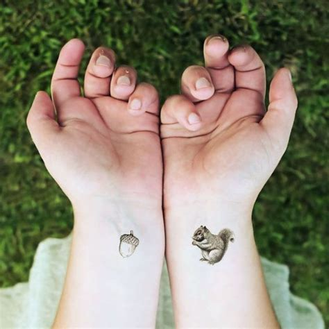 squirrel and nut temporary tattoo stocking stuffer