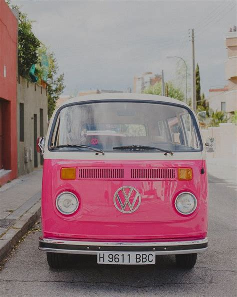 pink volkswagen van pink car photo vw van print retro style travel