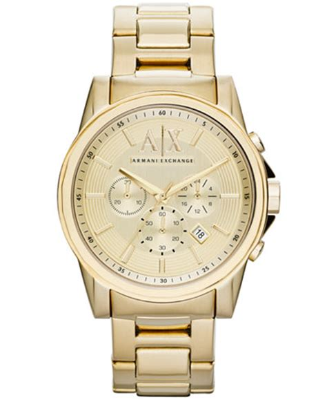 A X Armani Exchange Watch, Men's Chronograph Gold Ion Plated Stainless Steel Bracelet 45mm