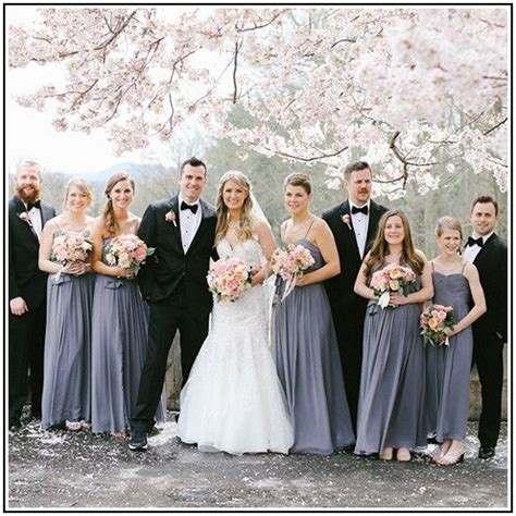 Bridesmaid Dresses And Tuxedos - grey bridesmaid dresses with black tuxedos my style