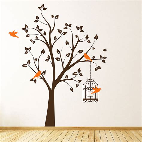 tree sticker for wall tree with bird cage wall stickers by parkins interiors