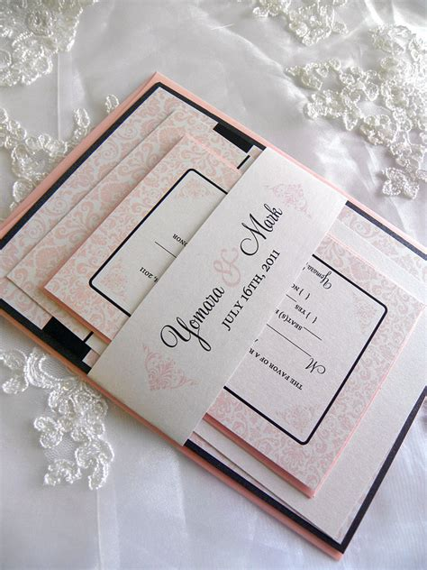blush pink wedding invitations black and blush pink damask wedding invitation set by citlali