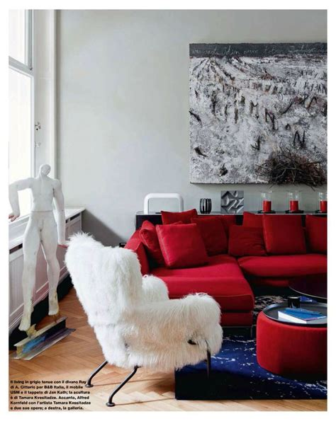 blue walls red couch contemporary style living room with silver gray walls