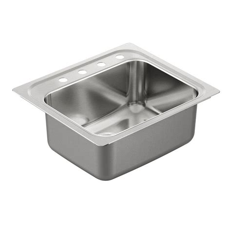 Drop In Stainless Steel Kitchen Sink Moen 1800 Series Drop In Stainless Steel 25 In 4 Single Bowl Kitchen Sink G181954 The