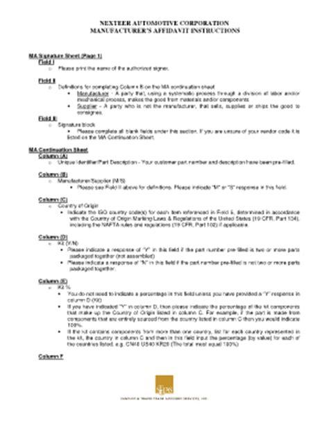 Fillable Online Manufacturer S Affidavit Instructions Nexteer Automotive Fax Email Print Manufacturer S Affidavit Template Fillable