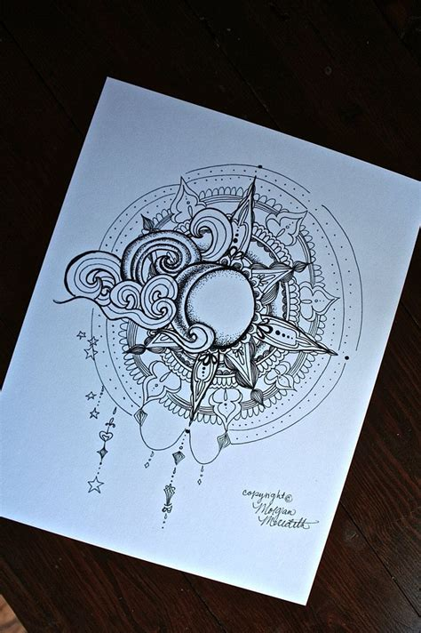 etsy tattoo designs artwork print sun and moon artwork drawing design